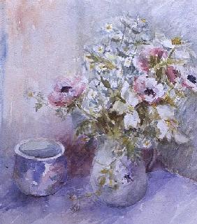 Still life of pink and white anemones with blue bowl (w/c)