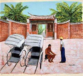 Taking a Rest, 1990 (gouache on silk)