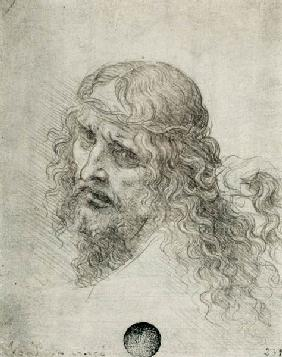 Head of Christ with a hand grasping his hair (black chalk on linen paper) 1899