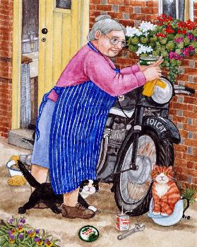 Grandma and 2 cats and motorbike 20. Jhd.