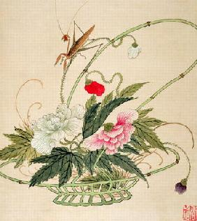 One of a series of paintings of flowers and insects, late 19th century (w/c on paper)