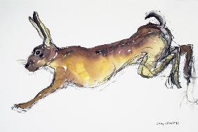 Jumping Hare (w/c & charcoal on paper)