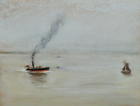 Rainy Weather on the Elbe, 1902 (pastel on paper) (see also 144743) 18th