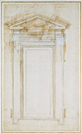 Study of a window with triangular gable, c.1546 (black chalk, wash, pen & ink on paper) 16th