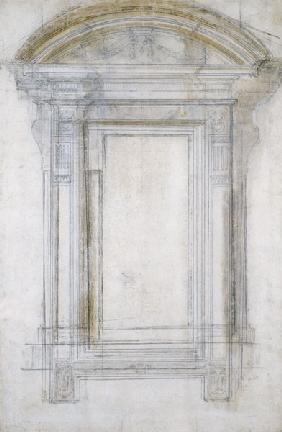 Study of a Window with a semi-circular gable, c.1546 (black chalk & wash on paper) 1601
