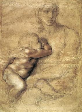 Madonna and child, c.1525 (pencil & red chalk on paper) 05th
