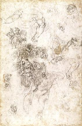 Study of figures for ''The Last Judgement'' with artist''s signature, 1536-41