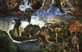 Last Judgement: detail from the bottom right corner, Sistine Chapel