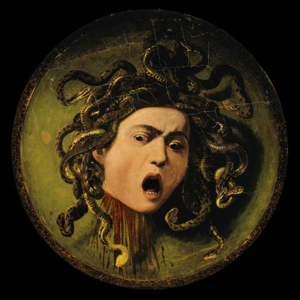 Medusa, painted on a leather jousting shield c.1596-98