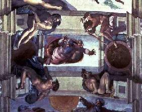 Sistine Chapel Ceiling: God Separating the Land from the Sea, with four Ignudi 1510
