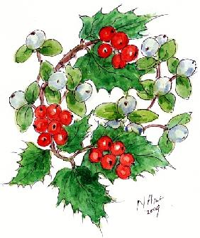 Mistletoe and holly wreath