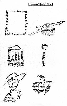 Calligram, poem by Guillaume Apollinaire
