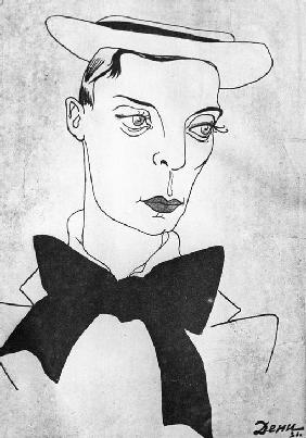 Caricature on American comedy actor and film director Buster Keaton 1971
