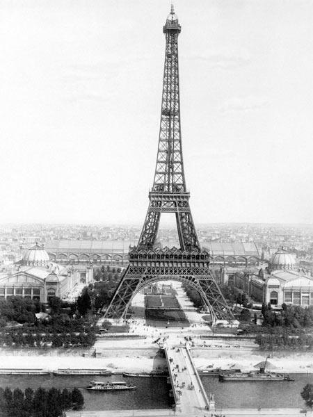 end of the building of the Eiffel Tower in Paris for World Fair in Paris 1889 , here photographed at March 31,