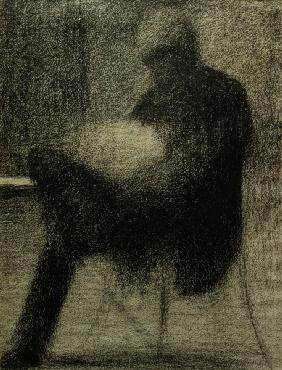 Seurat / Man reading / Chalk drawing