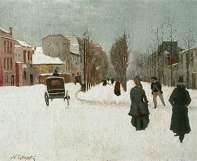 French street scene with snow (oil on metal)