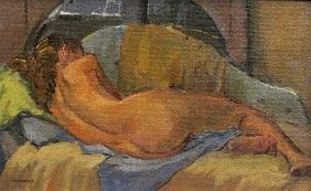 Nude on chaise longue (oil on sofa)