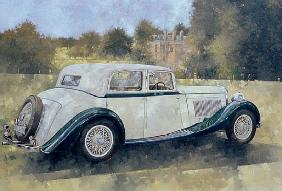 The Green and White Bentley at Althorp (oil on canvas)