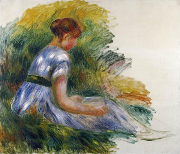 Alice Gamby In The Garden, Young Girl Sitting In The Grass