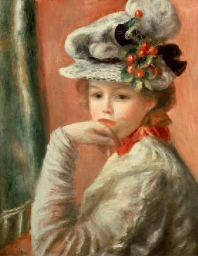 Young Girl in a White Hat 19th. Jh.