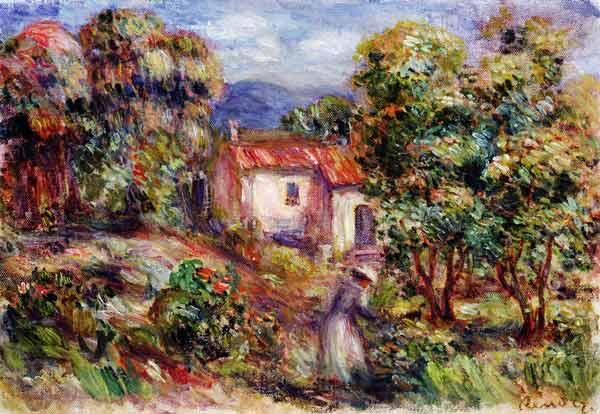 Woman picking Flowers in the Garden of Les Colettes at Cagnes 1912