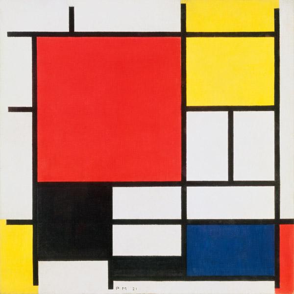 komposition mit rot gelb blau und schw piet mondrian als kunstdruck oder handgemaltes gem lde. Black Bedroom Furniture Sets. Home Design Ideas