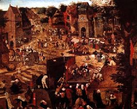 Brueghel d. J., Pieter : Kermesse with Theatre and ...