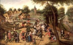 Brueghel d. J., Pieter : Returning from the Kermess...