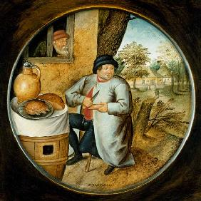 "Brueghel d. J., Pieter : ""The Man who Cuts Wood and..."