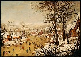 Brueghel d. J., Pieter : A Winter Landscape with Sk...
