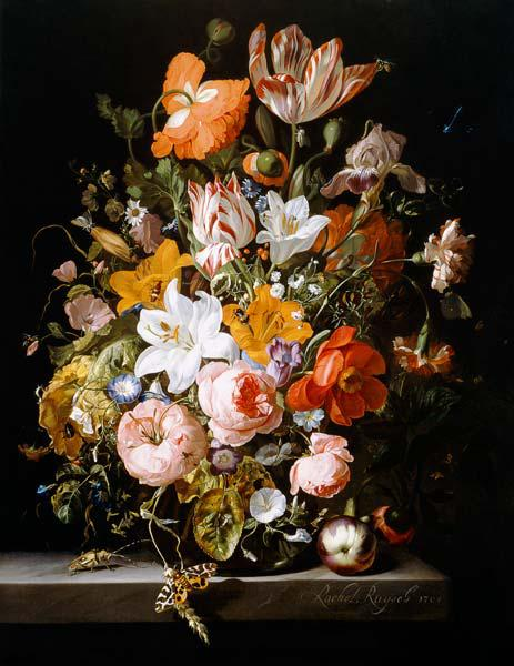 Still life of roses, lilies, tulips and other flowers in a glass vase with a Brindled Beauty on a st 1704