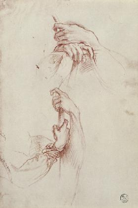Two studies of a young man's pair of hands