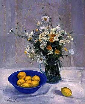Summer Daisies and Lemons, 1990 (oil on canvas)