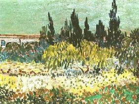 The Garden at Arles, detail of the cypress trees 1888