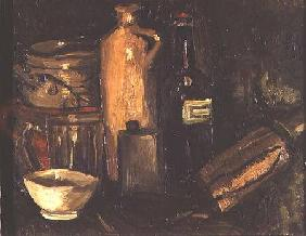 Still life with pots, bottles and flasks c.1886