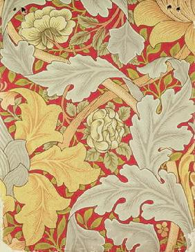 Acanthus leaves and wild rose on a crimson background, wallpaper design
