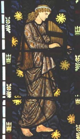 Angel with a portative organ, stained glass window designed