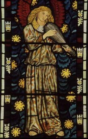 Angel with a rebec, stained glass window designed