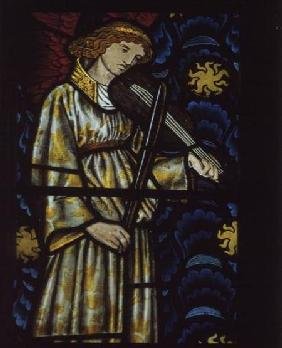 Angel with a violin, stained glass window designed