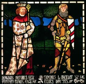 King Arthur and Sir Lancelot, 1862 (stained glass) 1893